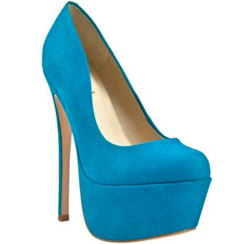 Zigi Girl SPYGLASS Platform Pump in Blue Jewel Suede at FLYJANE