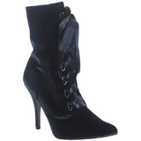 RUBY Velvet Bootie with Satin Lace in Black by FLYJANE.. Think Distressed Look with a short heel.  Velvet and Satin Ankle Booties | Velour Booties | Black Boots | Super cute for FALL | Fall Fashion 2018