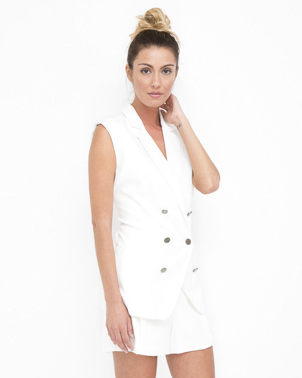 FOLLOW SUIT Blazer Short Set in White at FLYJANE | Double Breasted Sleeveless Blazer and Matching Shorts in White | All White Party Outfits | Blazer Vest Set