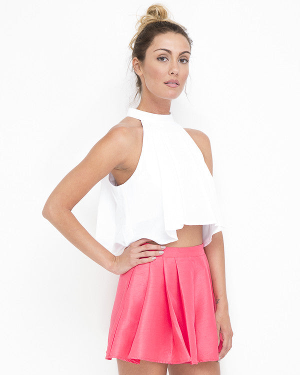 MATILDA Pleated Flutter Shorts in Coral at FLYJANE | Satin Flutter Shorts | Dress Shorts | Young Contemporary Fashion under $100 | Classy Pink Shorts