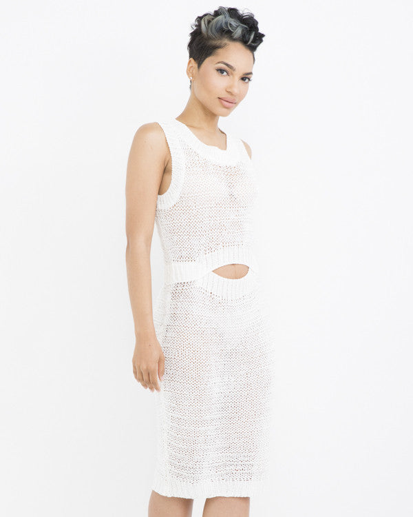 SWEAT HER CROCHET MIDI DRESS - OFF WHITE