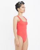 THE ULTIMATE Ribbed TANKSUIT Bodysuit in Coral Pink at FLYJANE | Coral Pink Bodysuits | Tank Tops | Coral Wife Beater Bodysuits