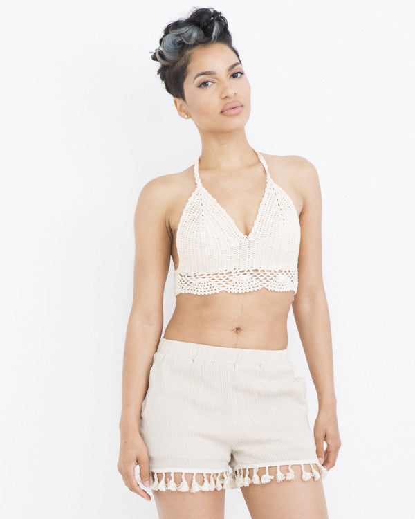 NADIE BOHEMIAN Fringe Shorts in Beige at FLYJANE | Fringe Shorts | Bohemian Shorts | Boho Chic Clothing | Summer Outfits at FLYJANE