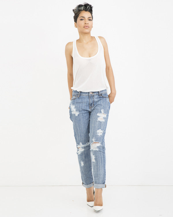 THE EX-BOYFRIEND Distressed Denim Jean in Medium Blue Wash at FLYJANE | Medium Wash Denim Boyfriend Jeans | Distressed Denim Jeans | Ripped Jeans for Summer