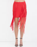 FRINGE BENEFIT Bandage Skirt in Red at FLYJANE | Bandage Skirts | Bandage Dresses | Red Mini Skirts | Fringe Skirts | Bandage Fringe Skirt | Club Clothes
