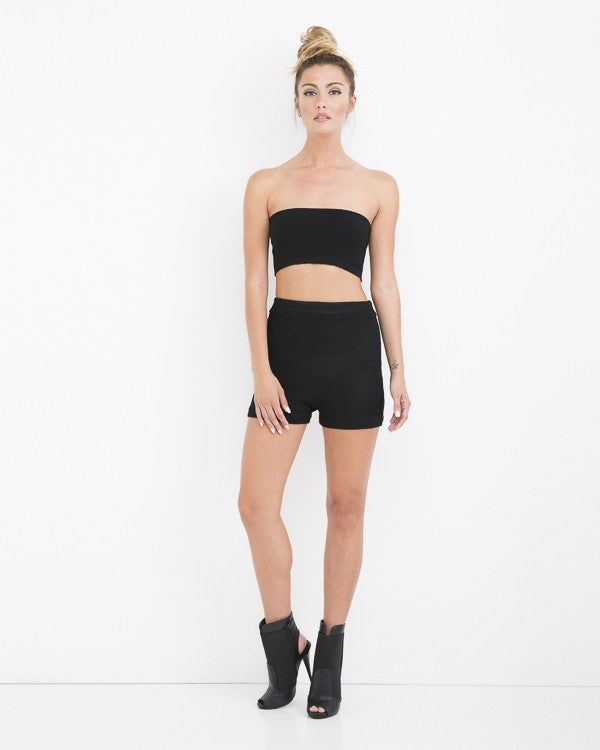 BEACH BOUND Knit Short Set in Black at FLYJANE | Bandeau Knit Short Set in Black at FLYJANE | Cute Summer Vacation Outfits | Black Shorts