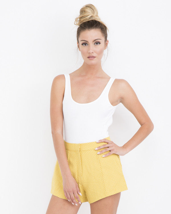 SUNSHINE BABY Pleated Woven Shorts at FLYJANE | Woven Shorts | Summer Shorts | Yellow Pleated Shorts | Cute Clothes for Summer at FLYJANE