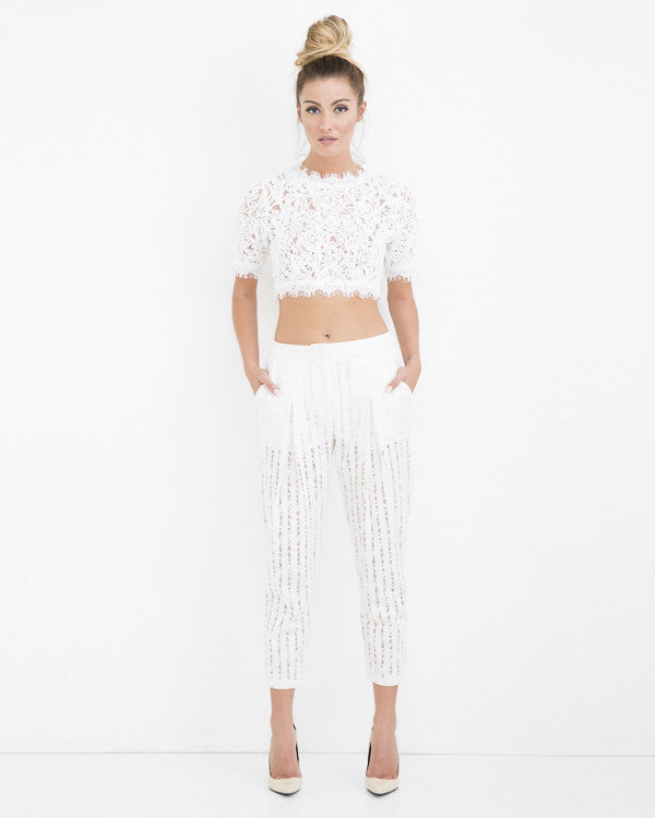 AMERICAN HEARTBREAKER Lace Eyelet Pant at FLYJANE | Lace Pants | White Lace Eyelet Pants