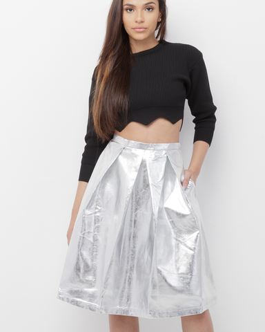 GET DOWN Silver Metallic Vegan Leather Skirt at FLYJANE | Cute Street Style Silver Metallic Pleated Skirt | Spring Fashion 2017 Silver Midi Skirt @FlyJane on IG