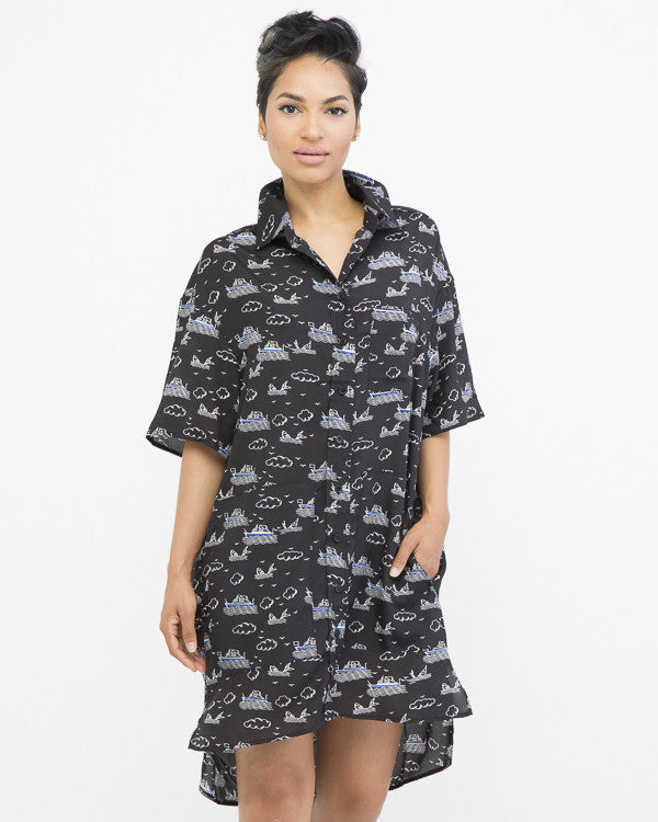 FISH OUT OF WATER Tunic Shirt Dress in Black at FLYJANE | Tunic Dresses for Summer | Cute Flowy Casual Dresses | Casual Chic