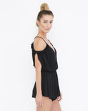 ALL IS WELL Off The Shoulder Crepe Ruffled Flowy Peasant Romper at FLYJANE | Cute Rompers under $50 at FLYJANE