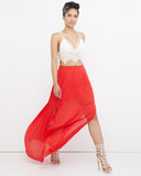 ETERNAL FLAME Pleated Maxi Skirt in Red at FLYJANE | Summer Vacation Outfits | Slit Skirt | Skirts with Slit | Red Pleated Skirt at FLYJANE