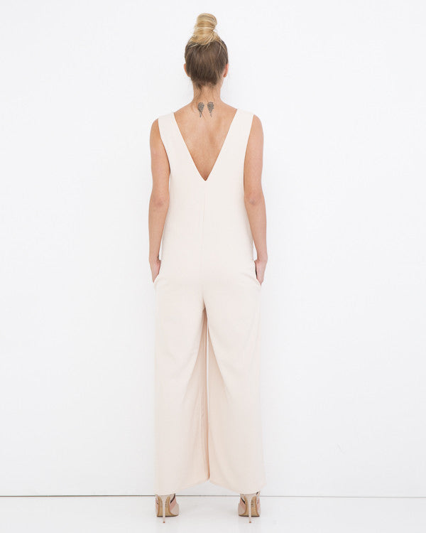 THE LOVE HER Wide Leg Jumpsuit in Salmon at FLYJANE | Palazzo Jumpsuit | Blush Pink Jumpsuit | Wide Leg Jumpsuit at FLYJANE