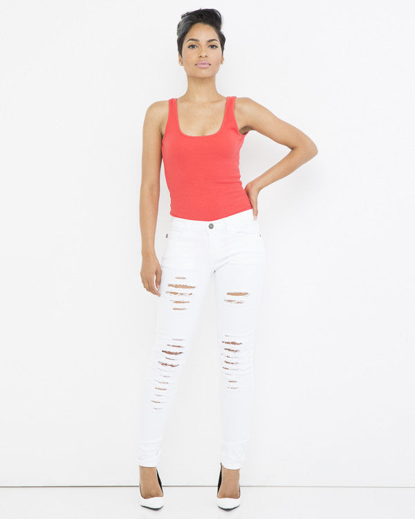 ALL CROSSED OUT Ripped Skinny Jean in White at FLYJANE | Ripped Stretch Skinny Jeans in White | White Jeans | White Distressed Jeans | Young Contemporary