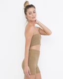 BEACH BOUND Knit Short Set in Tan at FLYJANE | Bandeau Knit Short Set in Tan at FLYJANE | Cute Summer Vacation Outfits | Tan Shorts