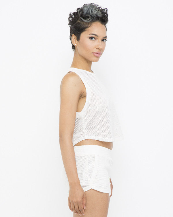 GET TO IT Track Shorts Set in Ivory at FLYJANE | Off White Mesh Dolphin Shorts Set | Cute Two Piece short sets