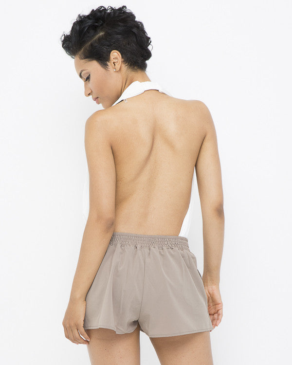 CHAI Pleated Flutter Shorts at FLYJANE | Pleated Flutter Shorts | Khaki Shorts | Taupe Shorts | Cute Shorts under $50