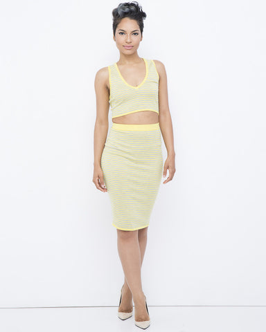 Rehab CLOUD 9 Bodycon Knit Striped Yellow and Grey Skirt Set in Yellow at FLYJANE | Knit Bodycon Skirt with matching top | Kylie Jenner Striped Skirt