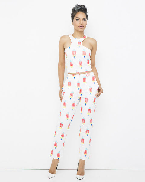 TASTY TREATS Popsicle Trouser Pant Set at FLYJANE | White Pant Set | Popsicle Pants | Young Contemporary Popsicle Outfit | Young Contemporary Fashion under $100