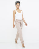 SADIE Utility Dress Pant in Taupe at FLYJANE | Belted Pants | Neutral Tone Pants | Taupe Dress Pants | Young Contemporary Clothing at FLYJANE