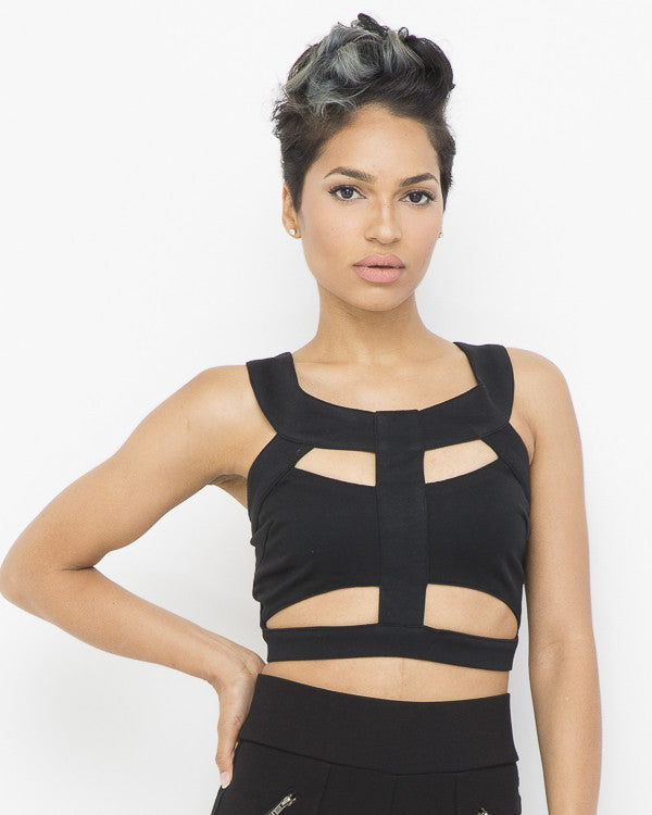 Endless Rose | SEYCHELLES SUMMER Cutout Crop Top in Black at FLYJANE | Cutout Crop Tops | Black Halter Top | Young Contemporary Fashion under $100 at FLYJANE