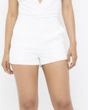 SLOAN Summer Pleated Shorts in Off White at FLYJANE | Classy White Pleated Shorts for All White Party | Young Contemporary Fashion under $100