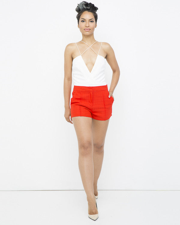 SLOAN PLEATED SHORTS - ORANGE