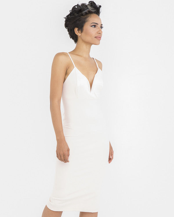CRUSH ON YOU Off White Midi Bodycon Dress at FLYJANE | Off White Bodycon Dress | Little White Dress | Cute White Midi Dress under $50 | Dress that Hugs the Curve