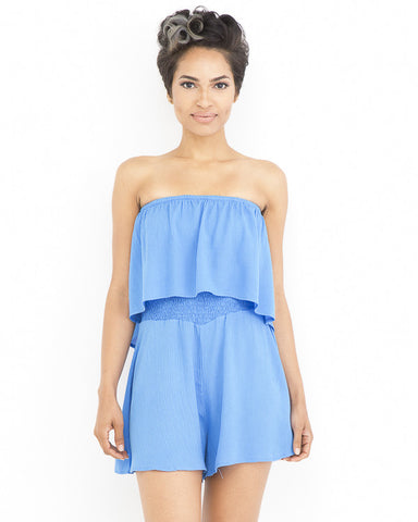 REMI Flowy Romper in Blue at FLYJANE | Flowy Rompers | Blue Romper | Off the Shoulder Rompers | Fashion Clothing under $100
