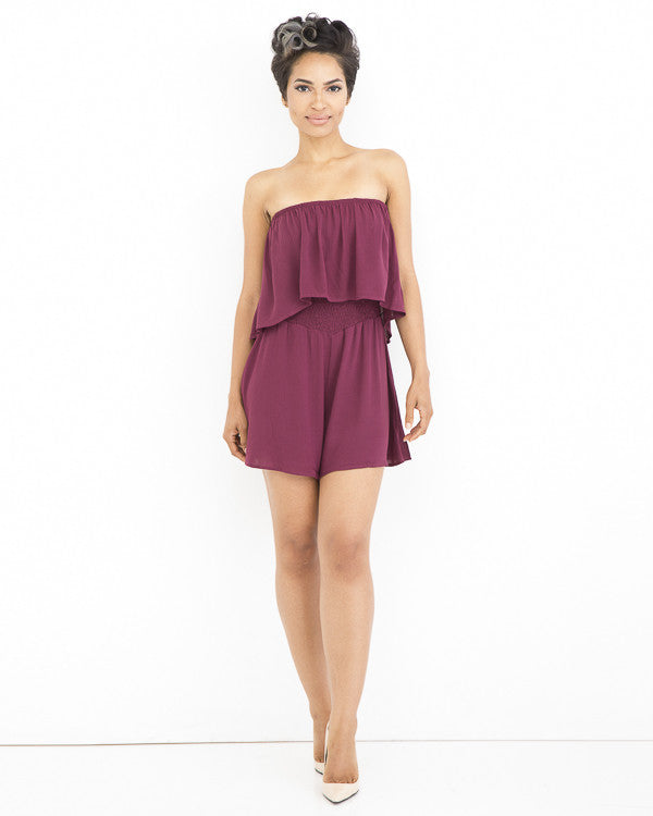 REMI Flowy Romper in Wine at FLYJANE | Flowy Rompers | Wine Romper | Off the Shoulder Rompers | Fashion Clothing under $100