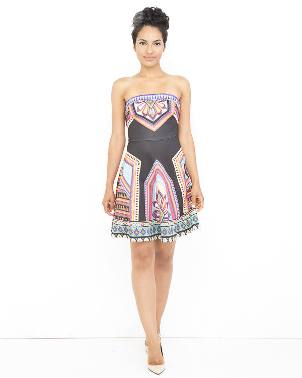 ANIKA Tribal Print Strapless Cocktail Dress in Black at FLYJANE | Sexy Cocktail Dresses | Classy Cocktail Dress under $60