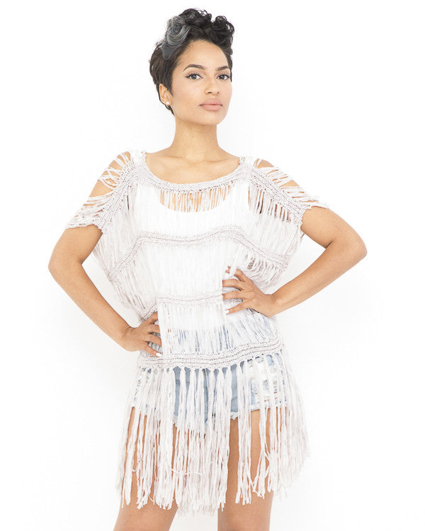 THE REVELER Fringe Tunic Top in Grey at FLYJANE | Fringe Tunic | Fringe Top | Pink Top | Trendy, Contemporary Fashion under $100 | Festival Outfit