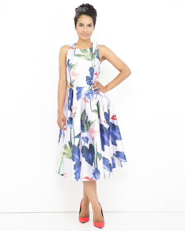GABRIELLA Floral Cutout Dress in Violet at FLYJANE | Cutout Flowy Floral Dresses Gabriella Dress | Purple Dresses under $100