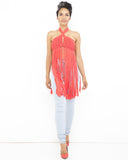 IBIZA Fringe Crop Halter Top in Coral at FLYJANE | Fringe Tops | Young Contemporary Clothing under $100 | Fringe Trend for Fall 2015
