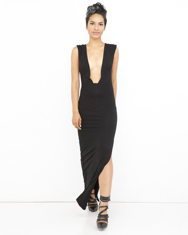 Pay Attention Deep V Neck Maxi Slit Dress At Flyjane