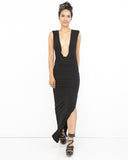 PAY ATTENTION Deep V Neck Line Maxi Slit Dress at FLYJANE | Little Black Maxi Dress | Black Slit Dress with Deep Plunging Neck Line | Contemporary Dress