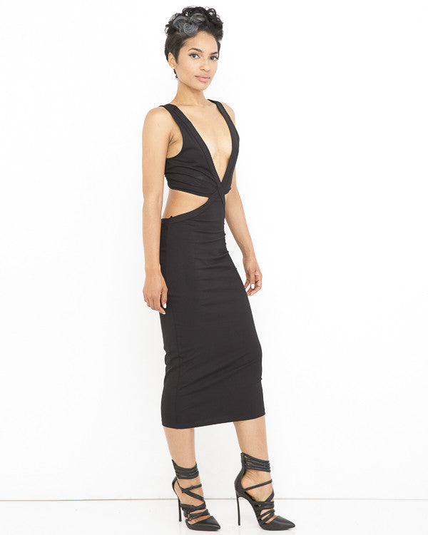 IN TOO DEEP Cutout Midi Dress in Black at FLYJANE | Black Midi Dress | Little Black Dress | Little Black Dresses under $100 | Cute Cutout Dress  in Black