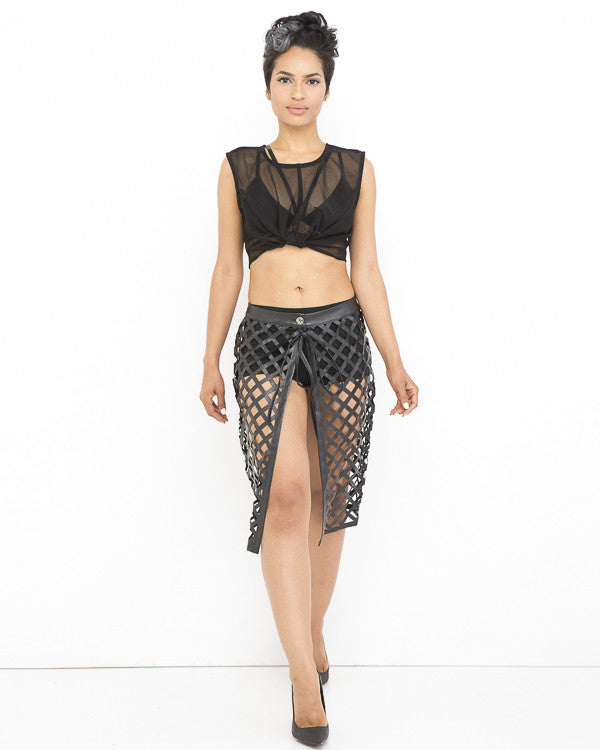 ALL IN PLACE Mesh Crop Top in Black at FLYJANE | Rehab Black Mesh Crop Top | Layering Pieces at FLYJANE | Contemporary Clothing for Less at FLYJANE