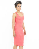 CARIELLE Ribbed Bodycon Dress in Coral at FLYJANE | Coral Dress | Cute Bodycon Dresses under $50 | Cute Club Dresses | Criss Cross Bodycon Dresses | Pink Dress