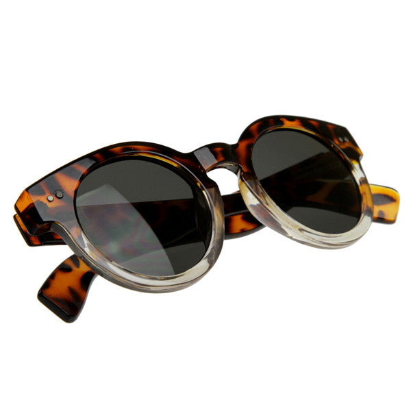 Genevieve Round Frame Keyhole Sunglasses in Tortoise Clear Ombre at FLYJANE