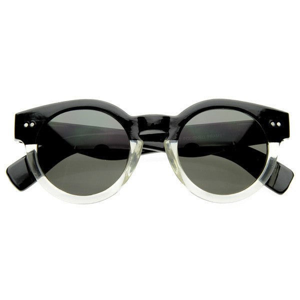 Genevieve Round Frame Keyhole Sunglasses in Black Clear Ombre at FLYJANE