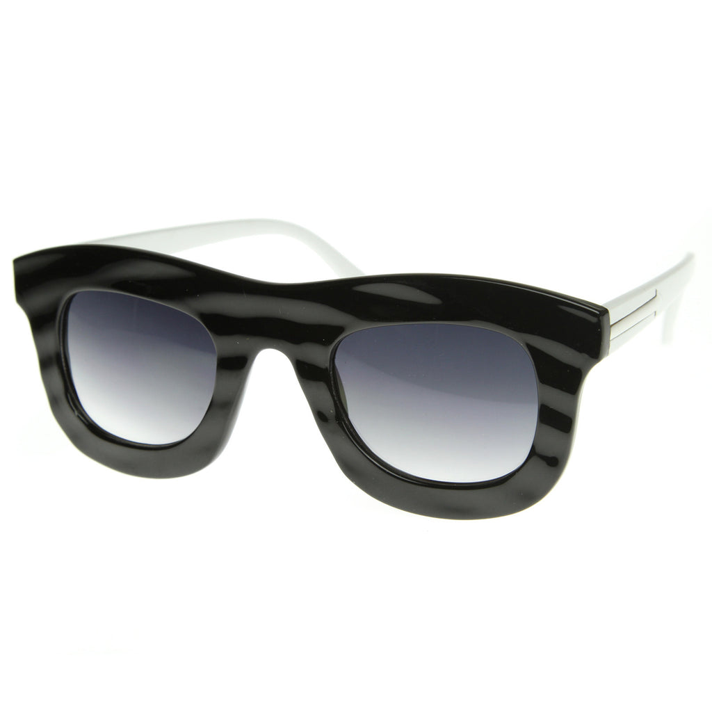 GET WAVY WAYFARER SUNGLASSES IN BLACK WHITE AT FLYJANE
