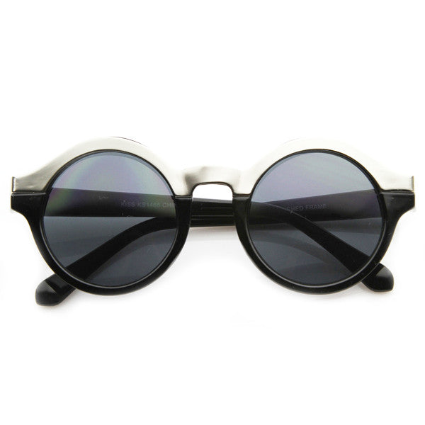 Alexa Tech Round Frame Sunglasses in Black at FLYJANE