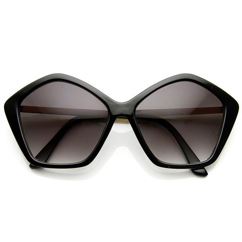 BLANK STARE Pentagon Shaped Sunglasses in Black at FLYJANE