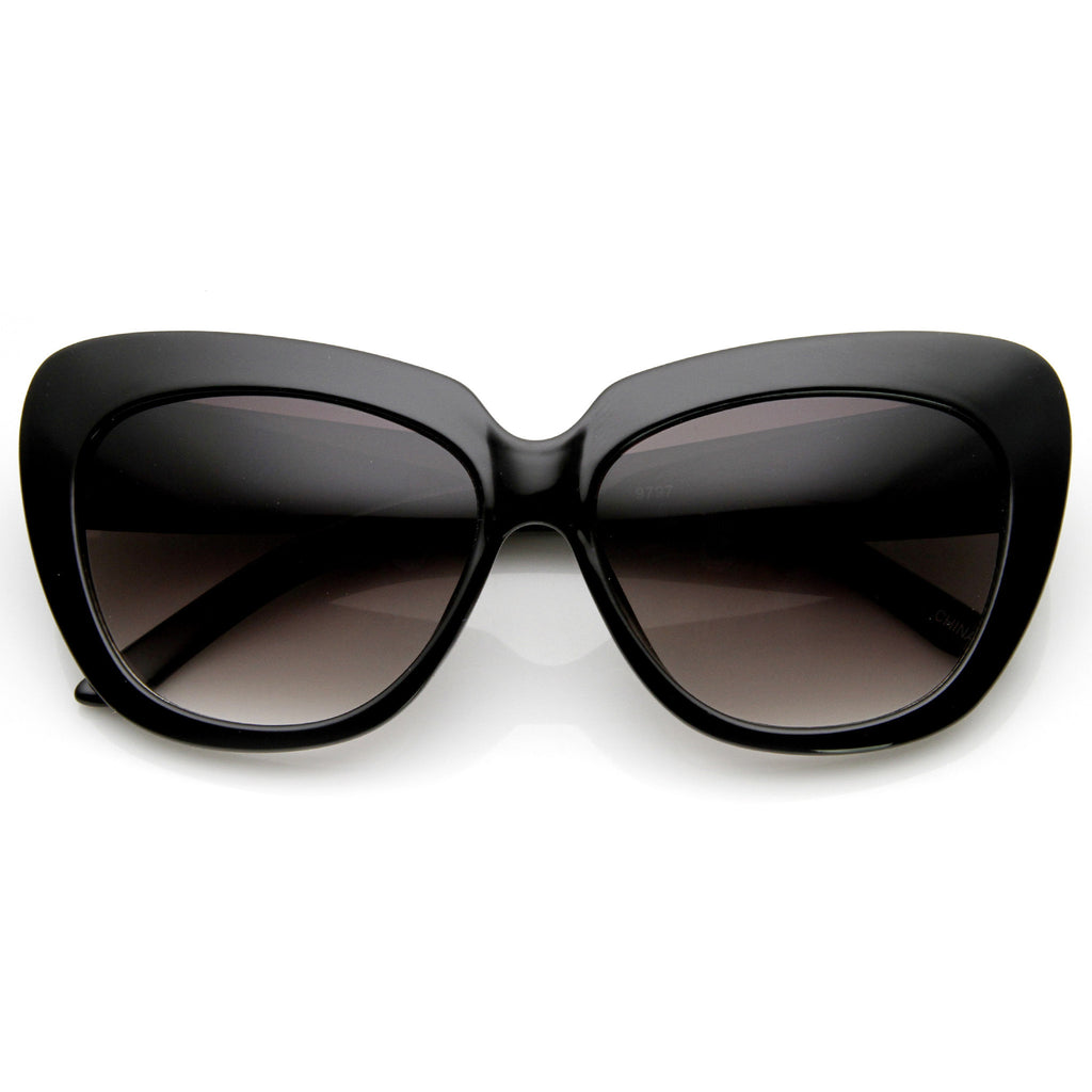 SLICK KITTY CAT EYE SUNGLASSES IN BLACK AT FLYJANE