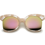 ALYSSA Oversized Side Cut Mirror Sunglasses in Pink Mirror at FLYJANE | Revo Pink Mirror Frame Sunglasses | Side Cut Round Frame Sunglasses | Fashion Sunnies