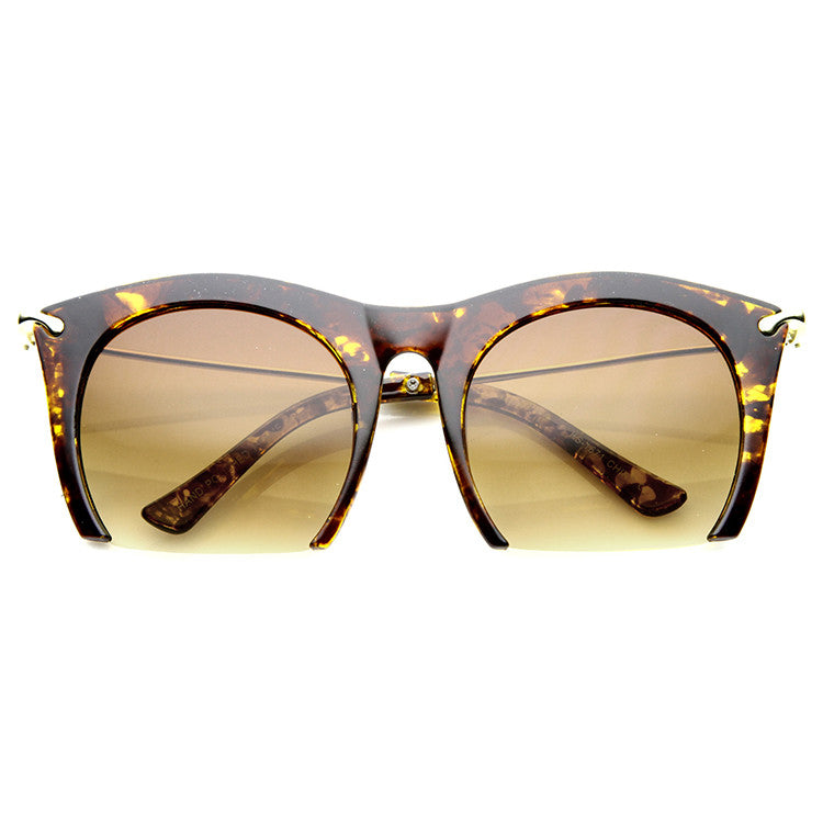 SMOOTH CUTTER Half Frame Sunglasses in Tortoise Amber at FLYJANE | Half Frame Sunnies | Contemporary Sunglasses Shades Frames under $25 | Cute Sunnies for Less