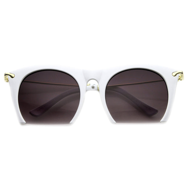 SMOOTH CUTTER Half Frame Sunglasses in White at FLYJANE | Half Frame Sunnies | Contemporary Sunglasses Shades Frames under $25 | Cute Sunnies for Less