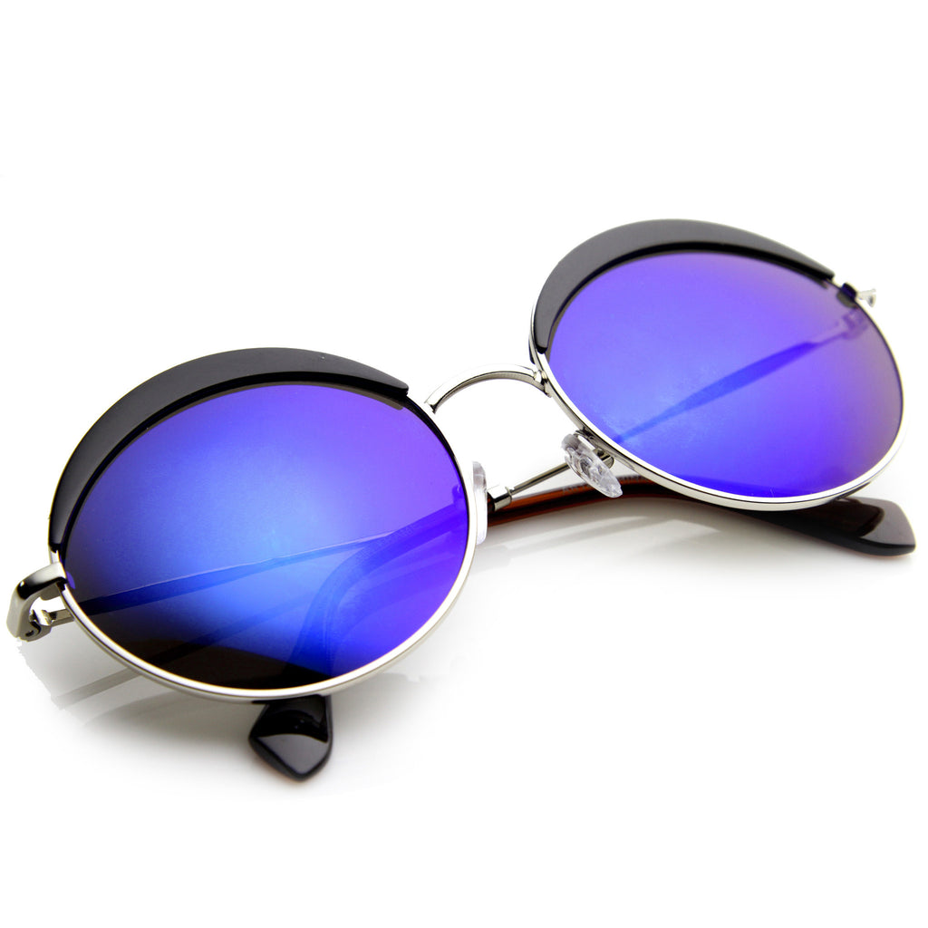 ON THE MOVE Circle Revo Mirror Sunglasses at FLYJANE | Round Frames | Revo Mirror Sunglasses | Circle Shades | Contemporary Sunglasses under $20 at FLYJANE