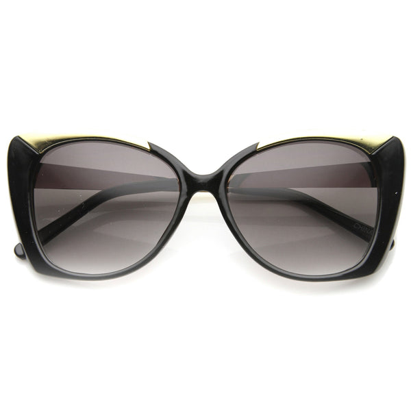 THE JOANNE Metal Frame Black Oversized Cat Eye Sunglasses at FLYJANE | Black Cat Eye Sunglasses | The Joanne Black and Gold Frames | Fashion Sunglasses under $25